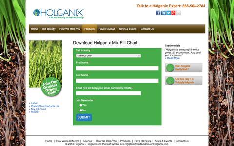 Screenshot of holganix.com - Lawn Mix Fill Chart - captured March 19, 2016