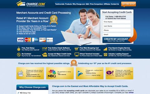 Screenshot of Home Page charge.com - Accept Credit Cards & Payments Online, Credit Card Processors - captured Sept. 25, 2014