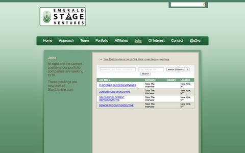 Screenshot of Jobs Page publishpath.com - Jobs | Emerald Stage2 Ventures - captured Sept. 17, 2014