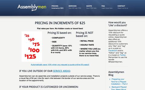 Screenshot of Pricing Page theassemblymen.com - Pricing –  Assembly Service   IKEA Furniture Assembly   Jacksonville and Orlando - captured Nov. 21, 2016