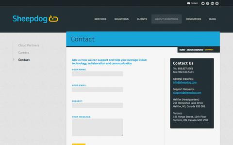 Screenshot of Contact Page sheepdog.com - Cloud Computing, Developer, Reseller, Support, Canada | Sheepdog - captured Sept. 19, 2014