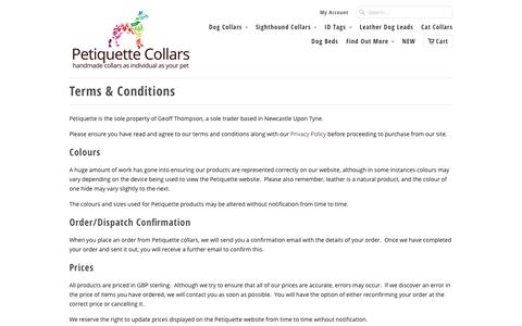 Screenshot of Terms Page petiquettecollars.co.uk - Terms & Conditions - Petiquette Collars - captured Jan. 24, 2016