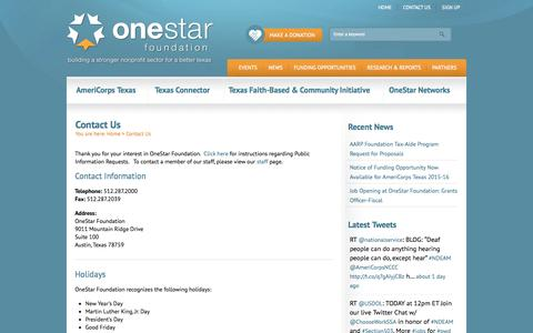 Screenshot of Contact Page Terms Page onestarfoundation.org - Contact Us | OneStar Foundation - captured Oct. 25, 2014