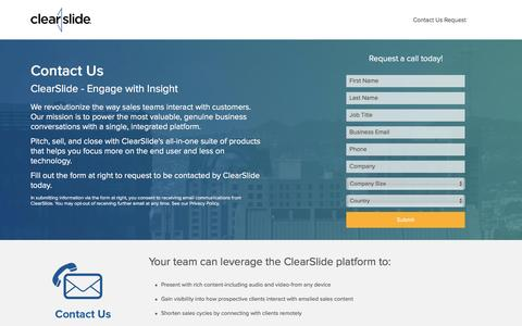 Screenshot of Landing Page clearslide.com - Contact Us   ClearSlide - captured Aug. 17, 2016