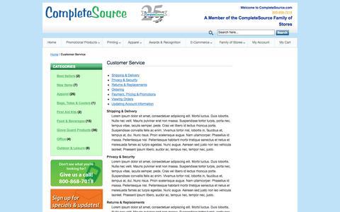 Screenshot of Support Page completesource.com - Customer Service - captured Sept. 30, 2014