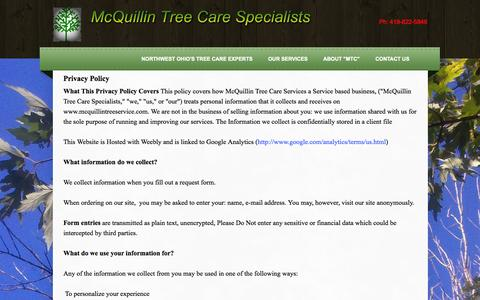 Screenshot of Privacy Page mcquillintreeservice.com - Privacy Policy McQuillin Tree Care Service Provider  - Northwest Ohio's Tree Care Experts - captured Oct. 27, 2014