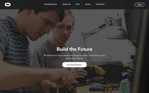 Screenshot of Jobs Page oculus.com - Careers | Oculus - captured July 8, 2016
