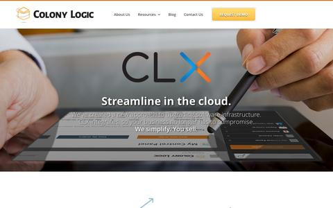 Screenshot of Home Page colonylogic.com - Colony Logic and CLX – A New Approach to Upgrading Software Infrastructure - captured Sept. 30, 2014