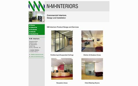 Screenshot of Products Page nminteriors.co.uk - NM Interiors product range and commercial office interior design services - captured May 10, 2017