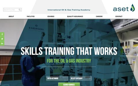 Screenshot of Home Page aset.co.uk - ASET International Oil & Gas Training Academy - Skills Training that Works - captured Sept. 11, 2015