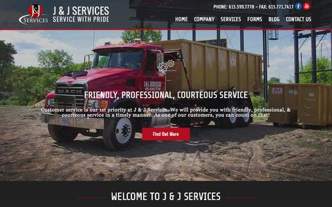 Screenshot of Home Page jandjservices.com - Waste Management & Portable Toilet Rentals Nashville, TN | J & J Services - captured Oct. 3, 2014