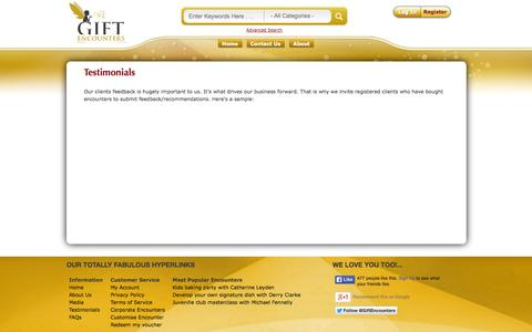 Screenshot of Testimonials Page giftencounters.com - Gift Encounters - Gift Encounters - captured Oct. 2, 2014