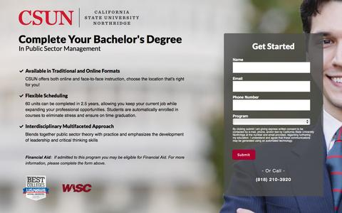 Screenshot of Landing Page csun.edu - B.A. in Public Sector Management - captured Nov. 19, 2016