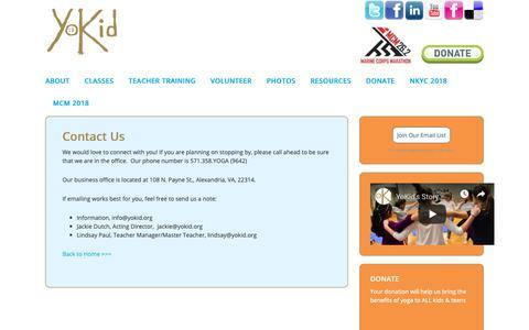 Screenshot of Contact Page yokid.org - YoKid | Contact Us | YoKid - captured Oct. 20, 2018