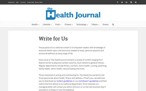 Screenshot of Jobs Page thehealthjournals.com - Write for Us - The Health Journal: Fitness, Nutrition, Wellness, Tips & Advice - captured Nov. 12, 2016