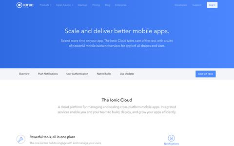 Screenshot of ionic.io - Cloud - Ionic Cloud - captured July 21, 2016
