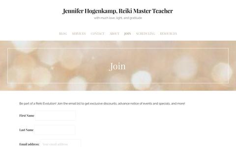 Screenshot of Signup Page caringjen.com - Join – Jennifer Hogenkamp, Reiki Master Teacher - captured Oct. 24, 2016