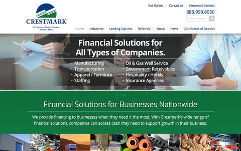 Screenshot of Home Page crestmark.com - Crestmark | Working Capital Solutions for Businesses Worldwide - captured Nov. 3, 2015