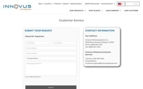 Screenshot of Support Page innovuspharma.com - Customer Service - captured Oct. 12, 2018