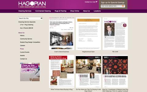 Screenshot of Press Page originalhagopian.com - Hagopian In The Press - captured Sept. 26, 2018