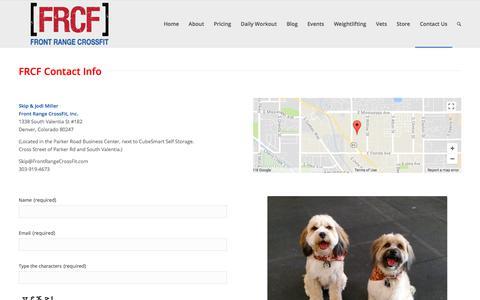Screenshot of Contact Page frontrangecrossfit.com - Contact Us | Front Range CrossFit - captured April 3, 2018