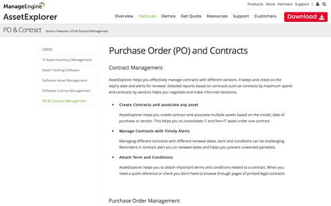 Contract Management, Purchase Order (PO) Management - ManageEngine AssetExplorer