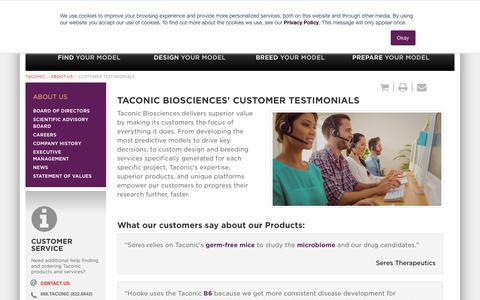 Screenshot of Testimonials Page taconic.com - Taconic Biosciences' Customer Testimonials | Taconic Biosciences - captured Aug. 4, 2018