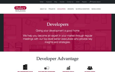 Screenshot of Developers Page baker-re.com - Baker Real Estate Incorporated - captured Feb. 7, 2016