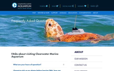 Screenshot of FAQ Page seewinter.com - Frequently Asked Questions (FAQs) | Clearwater Marine Aquarium - captured Aug. 11, 2018