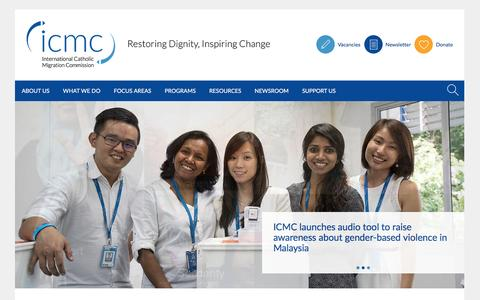 Screenshot of Home Page icmc.net - The International Catholic Migration Commission (ICMC) protects and serves uprooted people - captured Feb. 3, 2016