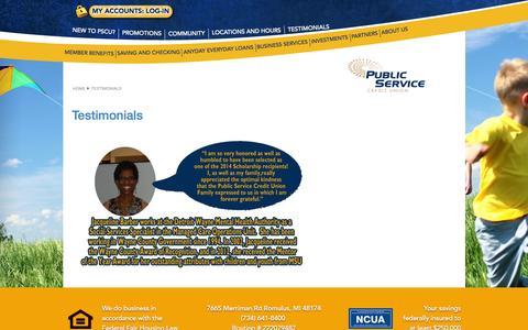 Screenshot of Testimonials Page pscunow.com - TESTIMONIALS - captured Feb. 2, 2016