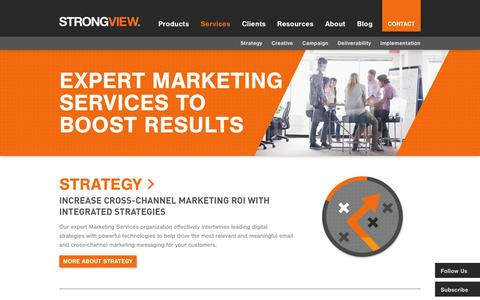 Screenshot of Services Page strongview.com - Marketing Services Enable Increased ROI | StrongView - captured Oct. 10, 2014