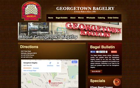 Screenshot of Maps & Directions Page georgetownbagelry.com - Directions | Georgetown Bagelry | Bethesda, Maryland - Bagels, Catering, Online Ordering - captured Sept. 26, 2014