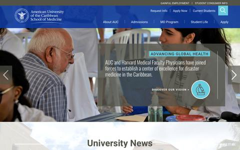 Screenshot of Home Page aucmed.edu - AUC Medical School | Discover AUC's Caribbean Med School - captured Sept. 24, 2018