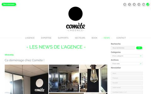 Screenshot of Press Page comete.com - Actualités de l'agence de communication Comète situé à Lyon - captured July 15, 2019