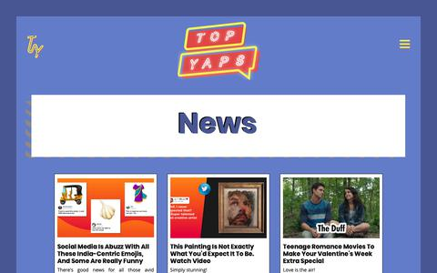 Screenshot of Press Page topyaps.com - News - Latest Pop Culture News for Indian Youth | TopYaps - captured Feb. 9, 2019