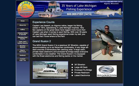 Screenshot of About Page fishalgoma.com - Haasch Guide Service, Algoma fishing charter, Algoma fishing services, Lake Michigan fishing, lake Michigan charter, fishing charter - captured Jan. 24, 2016