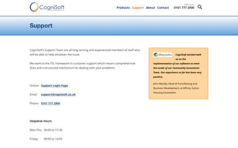 Screenshot of Support Page cognisoft.co.uk - CogniSoft :: Support - captured July 14, 2016