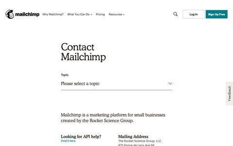 Screenshot of Contact Page mailchimp.com - Contact Mailchimp - captured Jan. 18, 2019