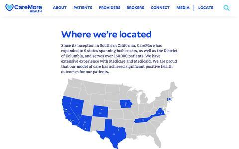 Screenshot of Locations Page caremore.com - Locations | CareMore Health - captured Nov. 3, 2019