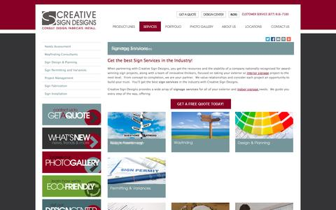 Screenshot of Services Page creativesigndesigns.com - Signage Services | Sign Services | Creative Sign Designs - captured Sept. 30, 2014