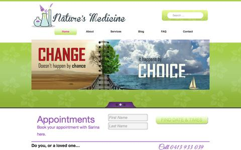 Screenshot of Home Page Menu Page naturesmedicine.com.au - Nature's Medicine - captured Oct. 7, 2014