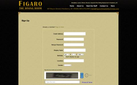 Screenshot of Signup Page figarohospitalitygroup.com - Signup - captured Oct. 5, 2014