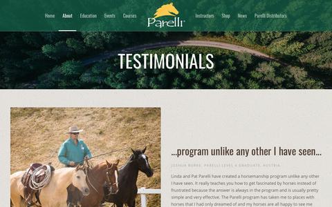 Screenshot of Testimonials Page parelli.com - Testimonials - Parelli Horse Training - captured Aug. 10, 2018