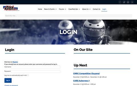 Screenshot of Login Page trinituner.com - Login   TriniTuner.com - captured Nov. 7, 2018