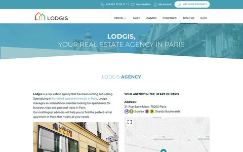 Screenshot of About Page lodgis.com - About Lodgis, real estate agency in Paris - captured Dec. 8, 2018