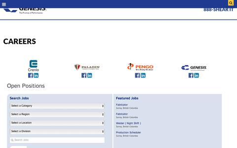 Screenshot of Jobs Page genesisattachments.com - Careers   Genesis Attachments - captured Sept. 22, 2018