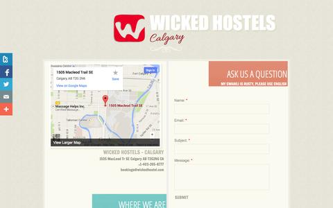 Screenshot of Privacy Page Contact Page wickedhostel.com - Contact - captured Oct. 26, 2014