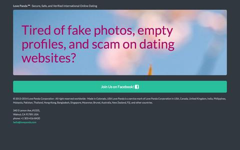 Screenshot of Home Page lovepanda.com - Love Panda - Secure, Safe, and Verified International Online Dating - captured Oct. 3, 2014