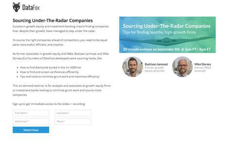 Screenshot of Landing Page datafox.com - Sourcing Under-The-Radar Companies - captured April 27, 2017